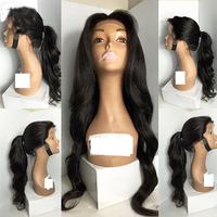 Freeshipping African Americans Black Women Long Body Wavy Cheap Synthetic Lace Front Wig With Combs Straps
