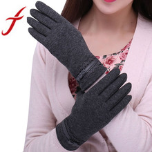 Feitong Womens Touching Screen Gloves 2017 New Ladies Winter Warm Elegant Lace Splice Warm Gloves Mittens Cashmere Female gants