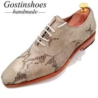 GOSTINSHOES/Мужская обувь ручной работы из натуральной кожи Бежевый рисунок под змеиную кожу принт на шнуровке с острым носком модельные оксфорд