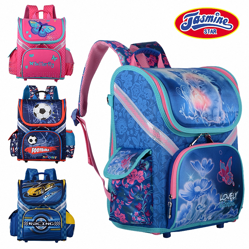 JASMINESTAR Childrens Backpack Grade 1-3-6 New Boys School Bags Orthopedic Satchel Cartoon School Backpack For Girls Schoolbag
