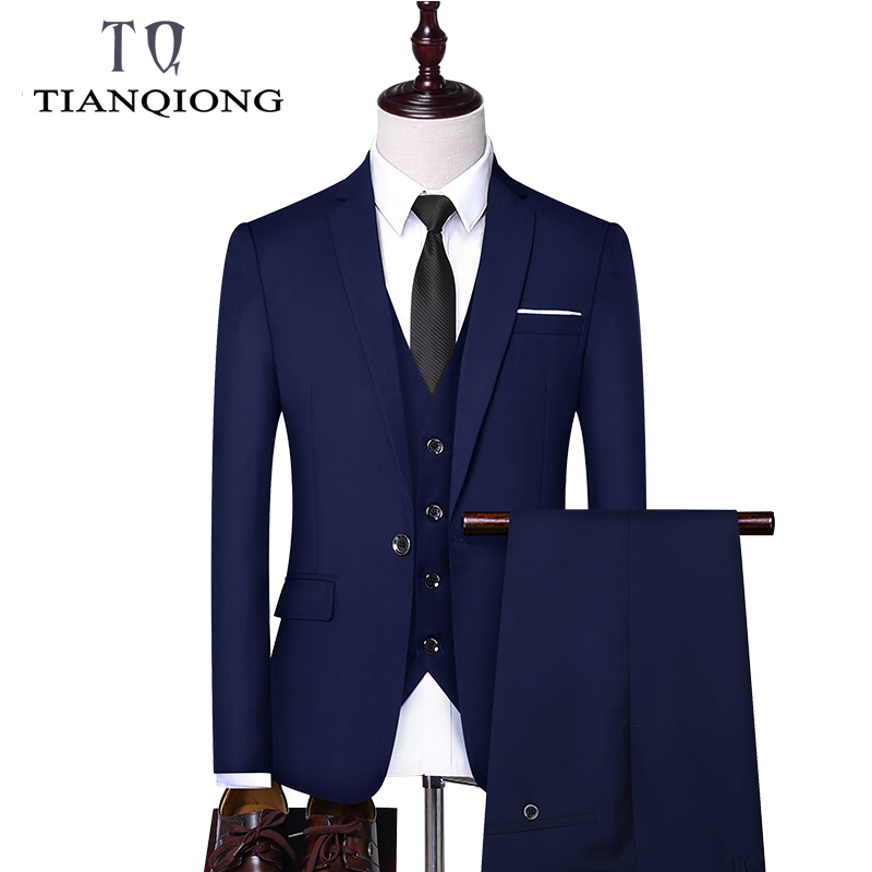TIAN QIONG 3 Piece Suit Suit for Men Sky Blue Gray White Men Suits for Wedding Tuxedo Slim Fit Mens Suits with Pants Burgundy