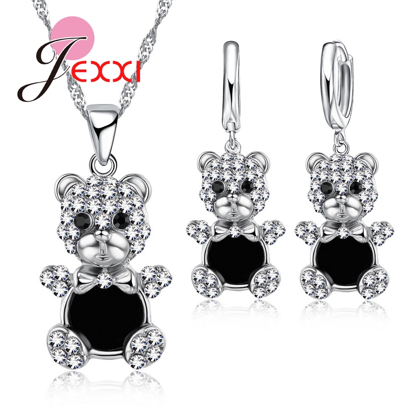 Jemmin 925 Sterling Silver Jewelry Sets Wear Clothes Bear Shape Pendant Necklace & 1 Pair Hoop Drop Earrings Anniversary Gift