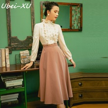 Ubei New Fashion College style spring 2019 doll collar Fake two piece Splice long-sleeve dress big swing