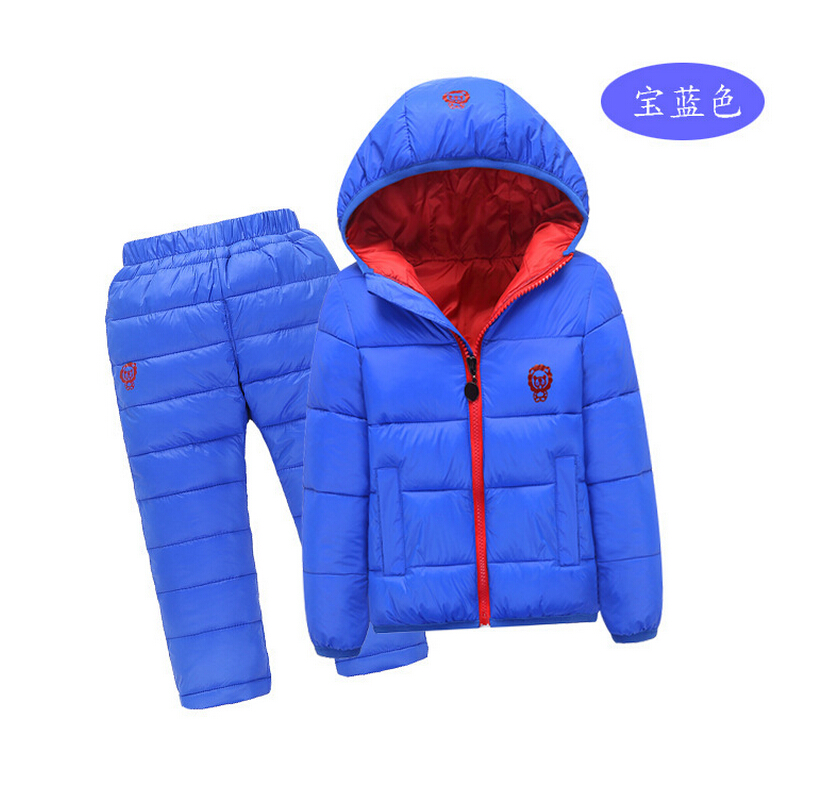 2017 Winter quality Boys Solid Down Sets Kids Cartoon Print Warm Sets Children Duck down Jackets