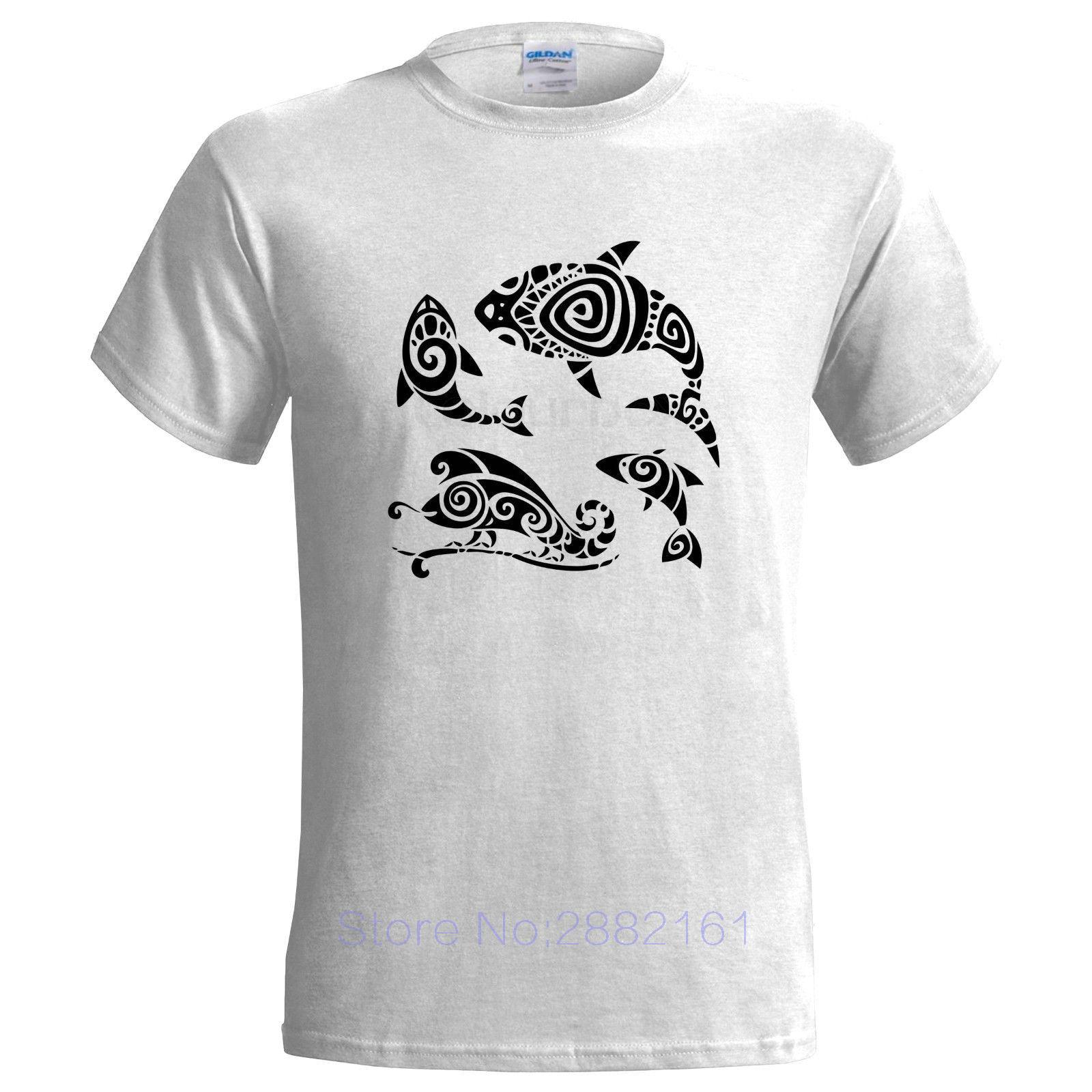 TRIBAL FISH DESIGN MENS T SHIRT MAORI PISCES TATTOO STYLE WATER HEALTH ART 100% Cotton T-Shirts for Man