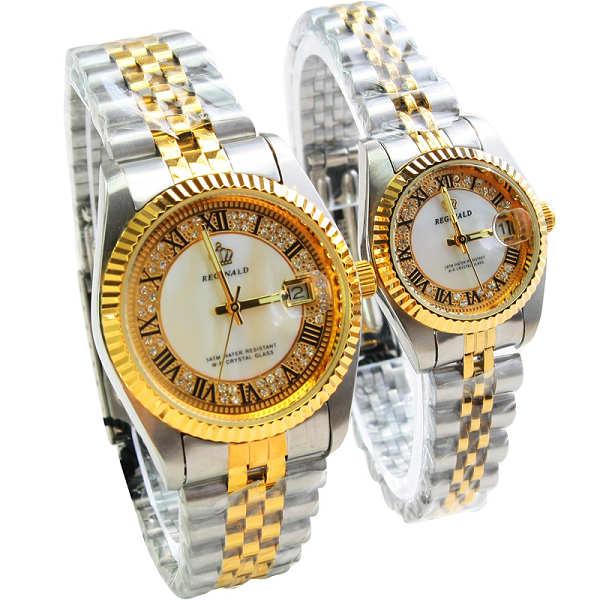 HK Brand REGINALD Lovers Watch Quartz Shell Calendar Gold Steel Watch Gift Watch 157989