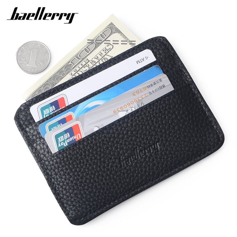 Baellerry Super Thin Small Credit Card Wallet Men's Leather Male Card holder Man Slim Purse Brand Designer Men Card Bag
