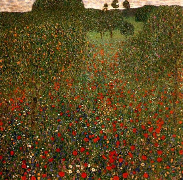 Handmade Oil Painting Reproduction Poppy Field By Gustav Klimt