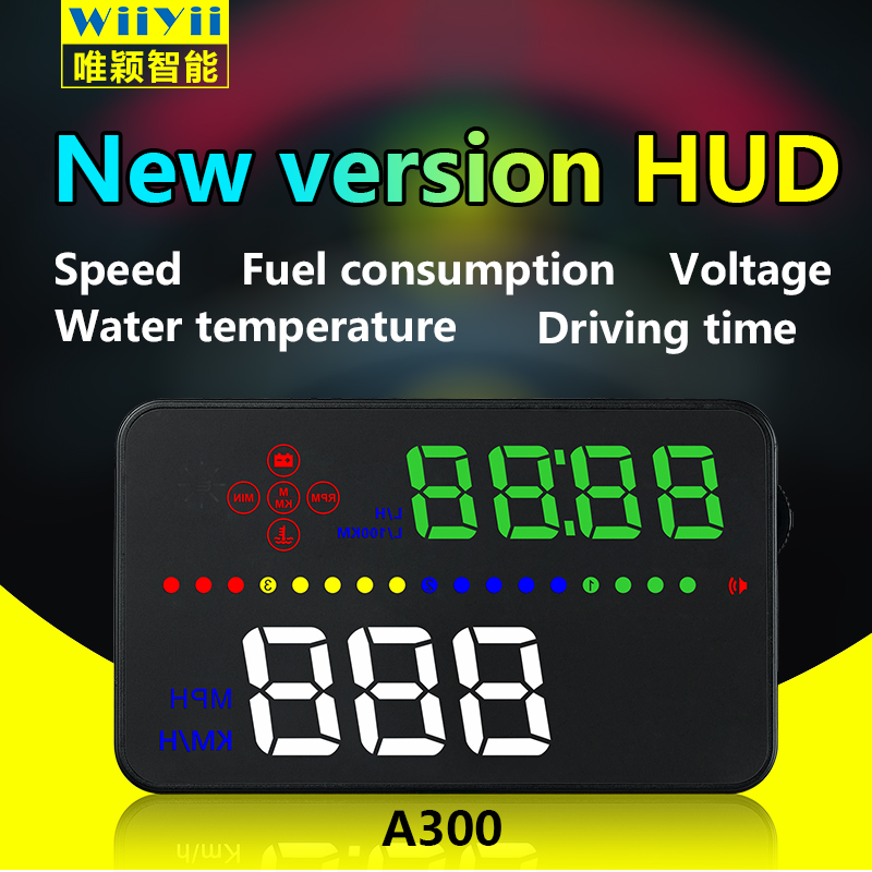 Newest 3.5 Inch Digital HUD Head Up A300 Display Speedometer Car Windshield Projector OBD2 Port Fuel Consumption Mileage 5 0 inch car speedometer gps obd2 head up display car speed projector on the windshield auto hud fuel mileage diagnostic tool