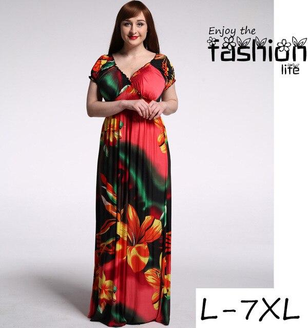 Plus Size Maxi Dress Newest 4xl 5xl 6xl Women Summer Sexy Lady