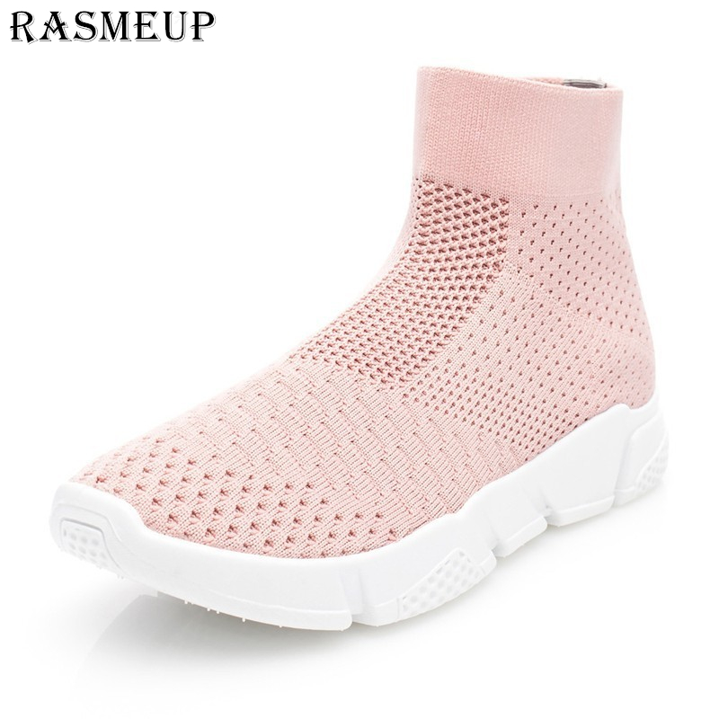 RASMEUP Elastizität Frauen Socke Turnschuhe High Top Komfortable frauen Schuhe 2019 Marke Weiß Rosa Mode Mesh Damen Schuhe