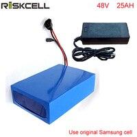 Paquete de batería de litio para bicicleta eléctrica de 48 voltios y 1000 W  48 V  25 AH  BMS 30A integrado con cargador para celda Samsung 48v 25ah battery pack lithium cell charger -