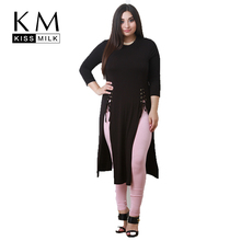 Kissmilk Women Plus Size Side Split Cross Straps Long T Shirt Solid O Neck Basic Large Casual Brief