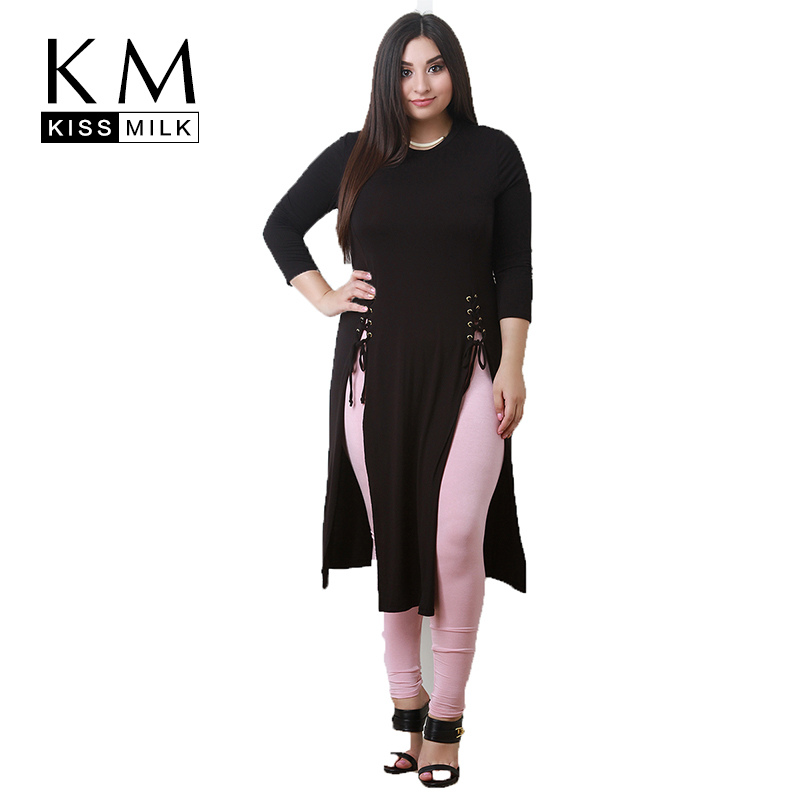Kissmilk Women Plus Size Side Split Cross Straps Long T Shirt Solid O Neck Basic T Shirt Large Size Casual Brief T Shirt