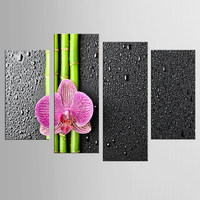 4 Pcs Set Nature Butterfly Orchid Flower Zen Stones Painting Wall Art Bamboo Picture Print On