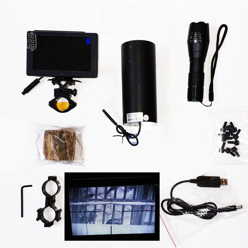 Riflescope Add On Infrared DIY Night Vision Scope Day and night dual use with LCD Screen &Laser Flashlight &Camouflage tape
