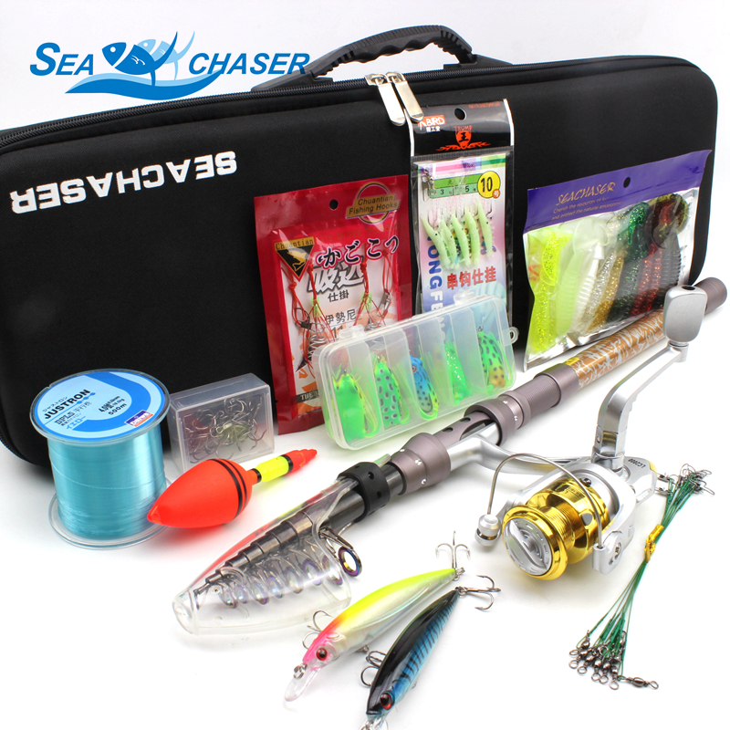 2018 NEW All fishing Telescopic Fishing Rod Reel Combo Full Kit Outdoor Fishing Spinning Reel Pole Set Fish Line Lure Hook Bag -in Fishing Rods from Sports & Entertainment