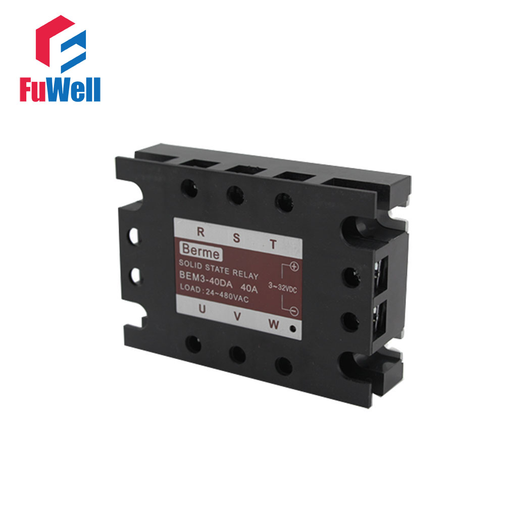 3-phase Solid State Relay SSR DC-AC 40DA dc ac single phase ssr solid state relay 120a 3 32v dc 24 480v ac