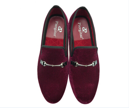 e97a3ef580b men velvet shoes fashion red wine loafer slippers horse bit US size 6-13  Free Shipping