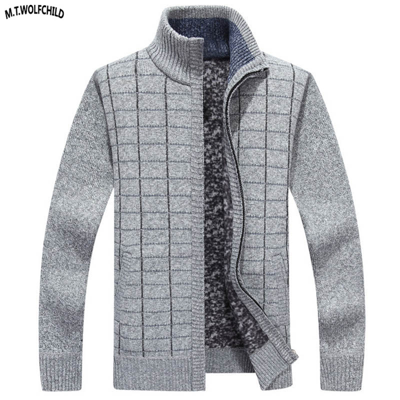 High Quality Mens Long Sleeve Stand-collar Cardigan Knitted Sweaters Casual Mens Zipper Fleece Knitting Coats Fashion Mens Tops