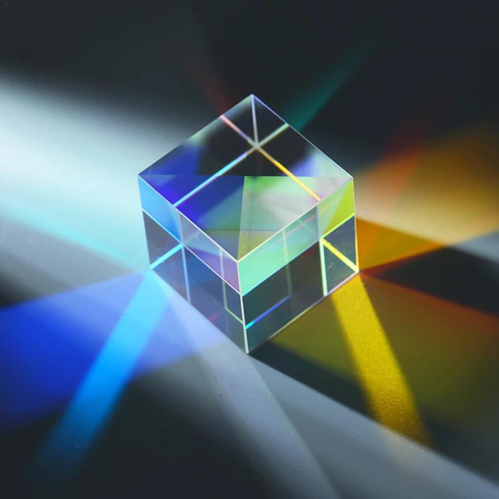 23*23*23mm Six-Sided Bright Light Cube Optical Stained Glass Prism