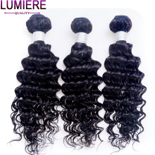 Lumiere Hair Indian Deep Wave Hair Extensions 100% Human Hair Weave Bundles 1 Piece Only 10-28 Inch Non-remy Hair