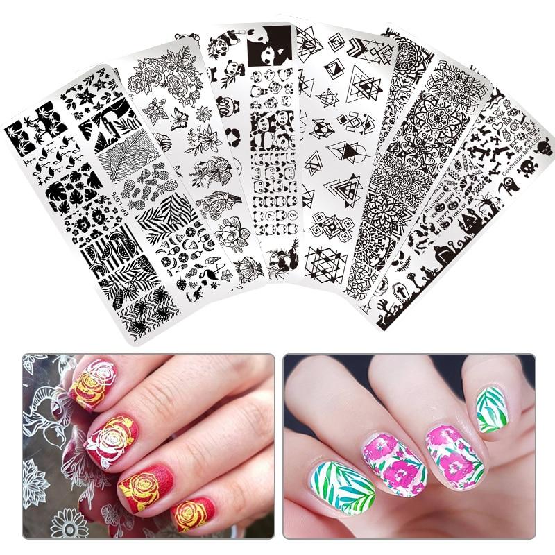 Geometric Reverse Stamping Nail Art Born Pretty Review: BORN PRETTY Nail Art Stamp Template Rectangle Round Flower