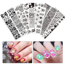BORN PRETTY Nail Art Stamp Template Rectangle Round Flower Animal Geometric Image Plate Manicure Nail Stamping Plates DIY Polish