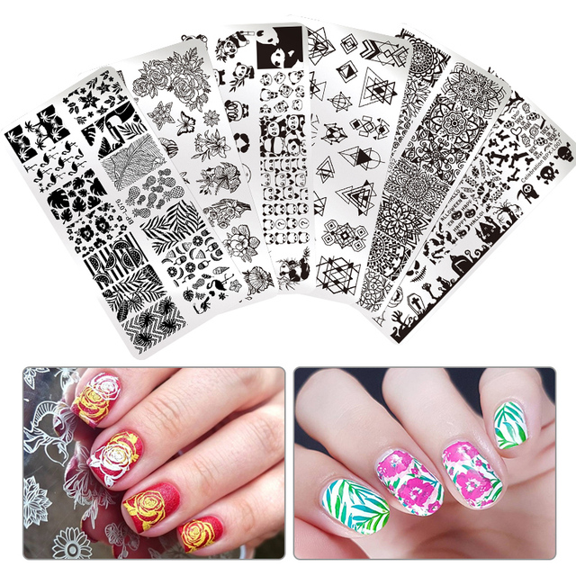 BORN PRETTY Nail Art Stamp Template Rectangle Round Flower Animal ...