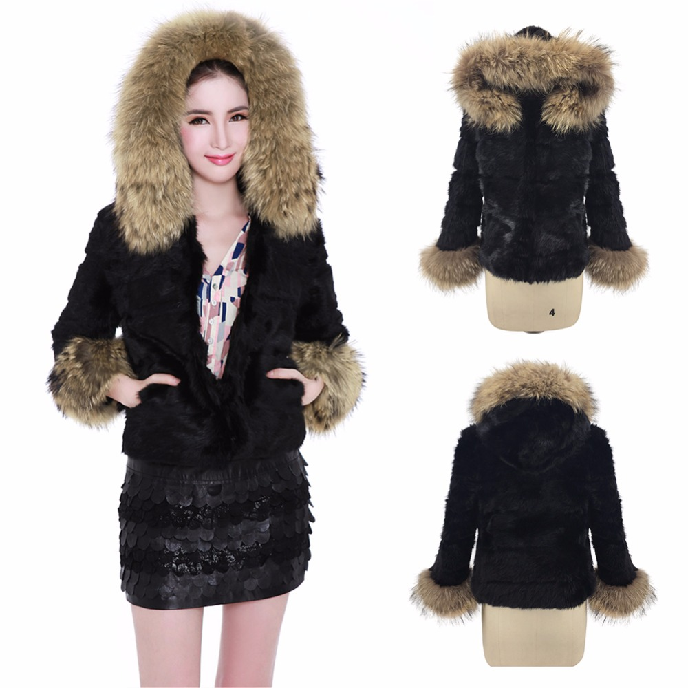 Ethel Anderson Hooded Jacket Women's Real Farm Rabbit Fur Raccoon Fur Hood Trim Coat Raccoon Fur Cuffs