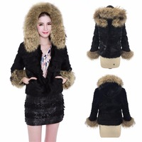 Ethel Anderson Hooded Jacket Women's Real Farm Rabbit Fur Raccoon Fur Hood Trim Coat Raccoon Fur Cuffs