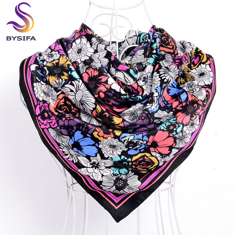 [BYSIFA] Brand Black Ladies Silk Scarf 2017 Nya 90 * 90cm Matt Satin Square Scarves Mode Accessoarer Vår Höst Silk Scarf