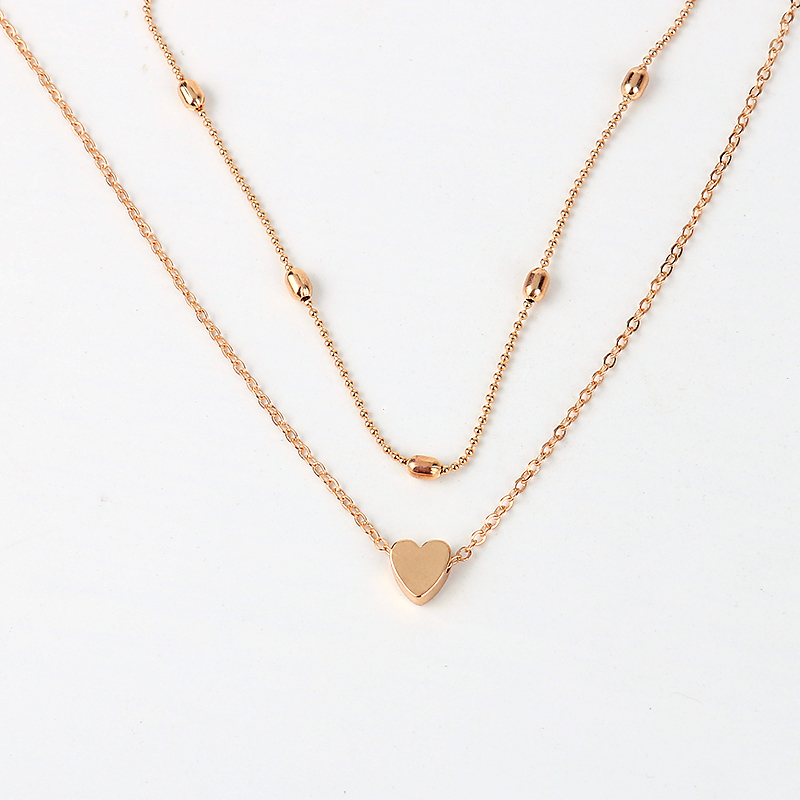 LWONG Simple Gold Silver Color Layered Chain Choker Necklace for Women Dainty Beaded Chain Tiny Heart Necklaces Chokers Jewelry 8