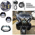 "Harley Daymaker Motos 7"" LED Headlight & 4.5 "" Led Fog Passing Light for Harley Davidso Motorcycle with 7"" Bracket Adapter Ring"
