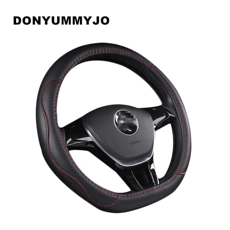 DONYUMMYJO D Shape Microfiber Leather Car Steering Wheel Cover Four Seasons Slams Sterring Wheel Hubs For VW GOLF 7 2015 POLO image