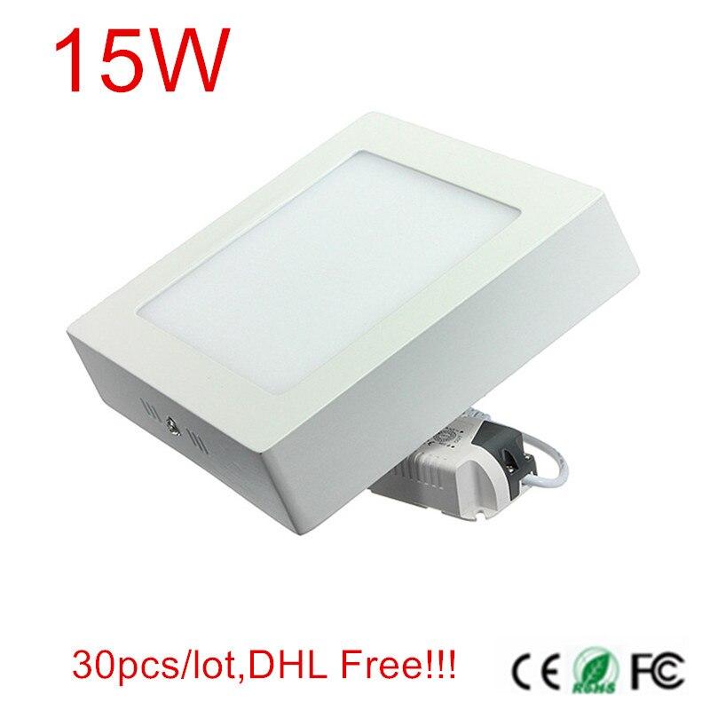 Квадратная 15 Вт поверхность Встроенная светодиодная панель свет потолочный светильник лампа AC85 265V 30 шт/партия, DHL/FedEx Бесплатная доставка