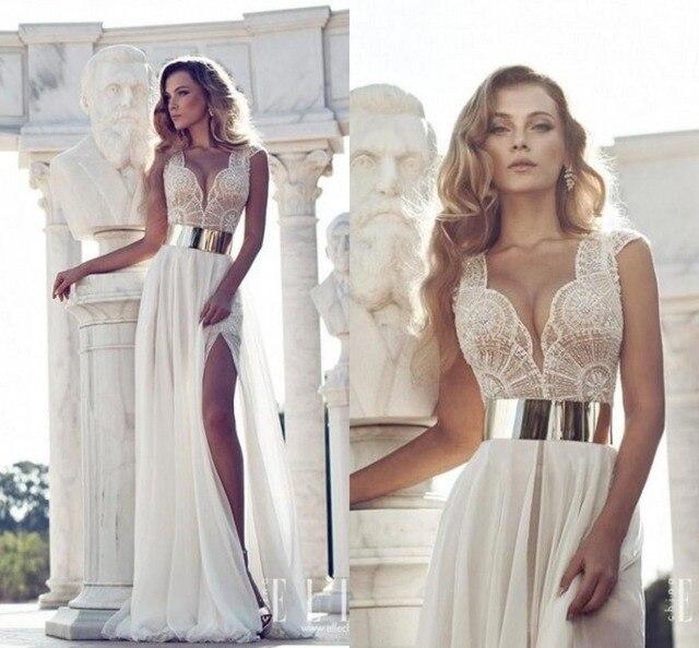 2014 New Arrival Prom Dresses Vestidos De Noiva Deep V-Neck High Slit  Sheath Bridal Formal Party Dresses Vestido De Festa 36812e3e71ad
