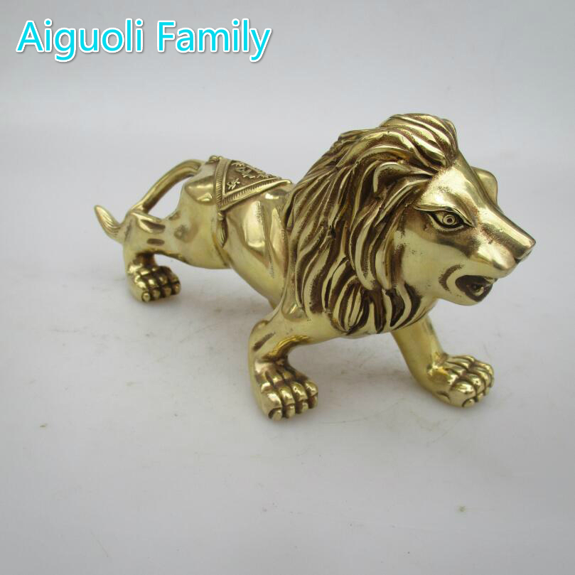 Wedding Decoration Home Living Room Decorative Metal Crafts Chinese Brass Carved Lion Statue Feng Shui