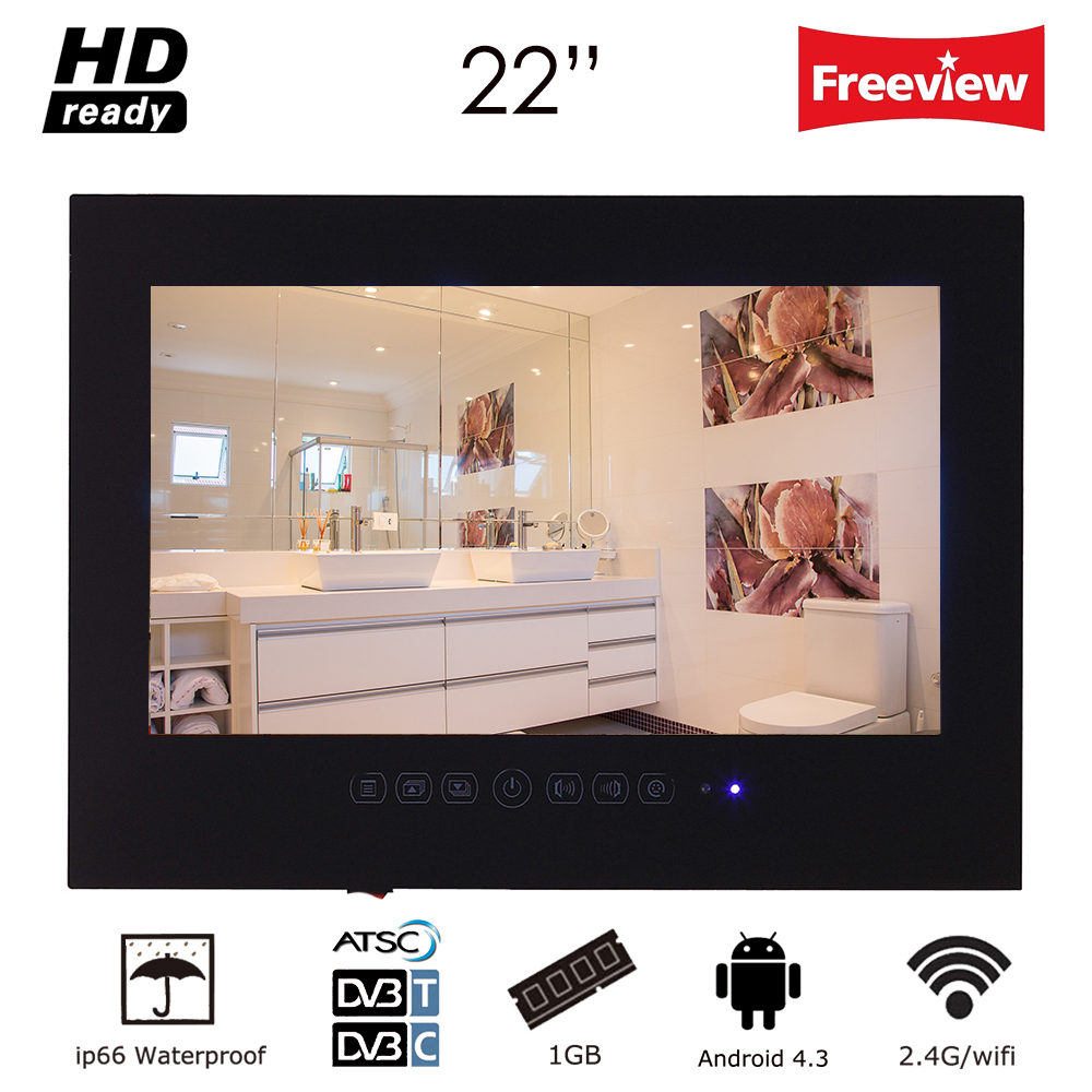 Souria 22inch Android Smart Glass for Bathroom Digital Waterproof Black Finish Hotel LED TV Wall-Mounted/Wall Hanging