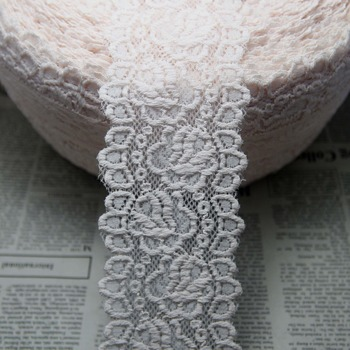 A roll 143 yard pink-white 72mm width Elastic Stretch Lace trim DIY sewing/garment/clothes accessories F37
