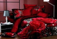 Red Rose Comforter sets 3D Bedding duvet cover 100% Cotton sheets bed in a bag bedspread quilt doona King Queen size Full 5PCS