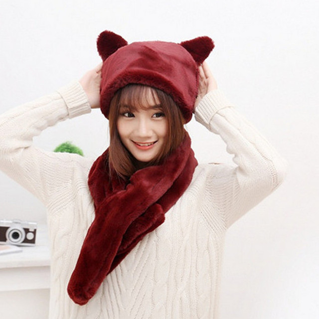 2016 Autumn and winter freeshipping super warm plush faux fur scarf gloves bunny cat hat Women fashion women warm scarf set