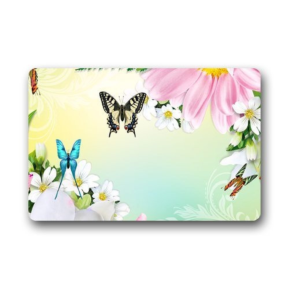 Memory Home Custom Bseautiful Butterfly With Flowers Indoor Washable Doormat Bath Kitchen Decor Area Rug Carpet