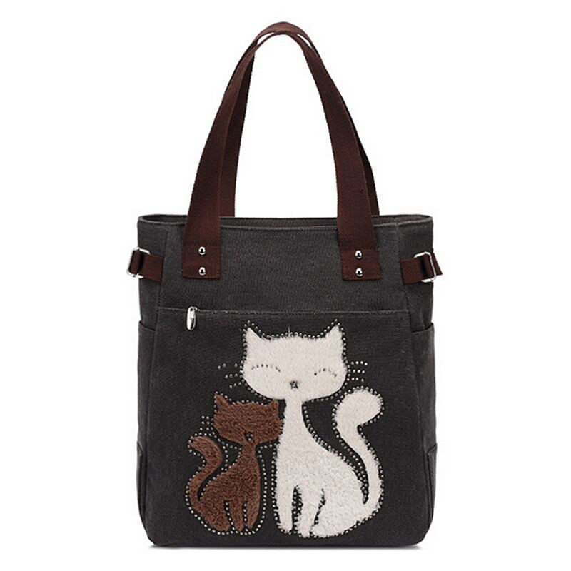 For Girls Ladies Portable Solid Zipper Shoulder Bag Lovely Cat Canvas Handbag Large Capacity Casual Bag Purses and Handbags(China)