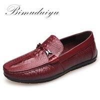 BIMUDUIYU Spring Autumn Fashion Mens Slip On Casual Shoes Genuine Leather Crocodile Pattern Male Breathable Flat