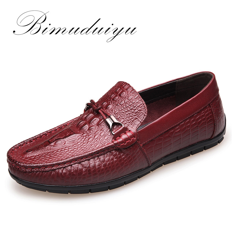 BIMUDUIYU Spring Autumn Fashion Mens Slip On Casual Shoes Genuine leather Crocodile pattern Male Breathable Flat Driving Shoes