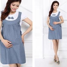 abe47ae9993b7 Maternity Dress Bow Clothes For Pregnant Women Pregnancy Denim Clothing  L305(China)