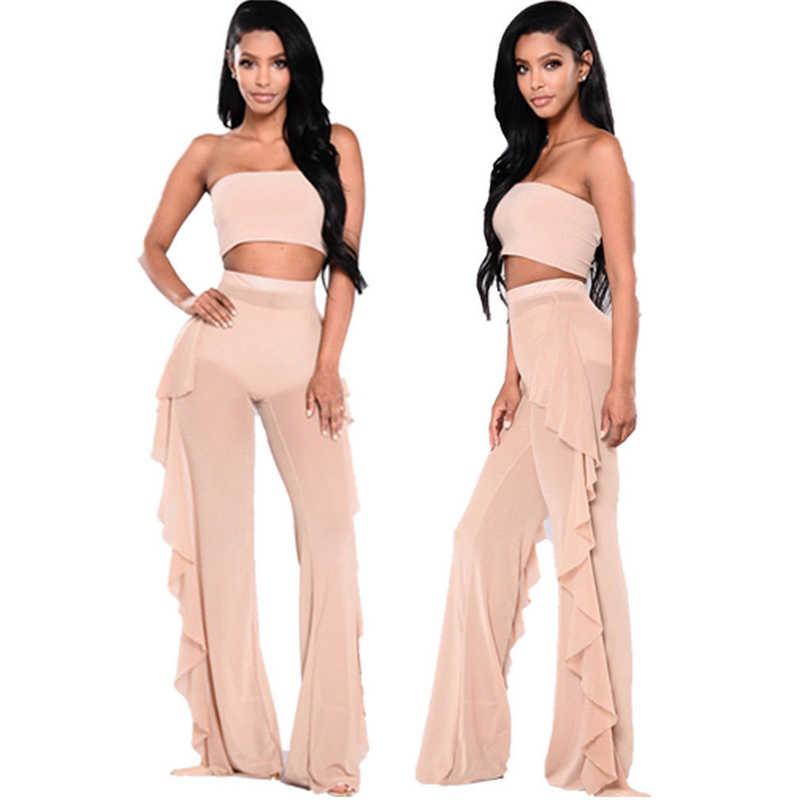 a76dd2c60e ... Sexy Women Bikini Cover Up Plus Size Mesh Ruffles Sheer Wide Leg See- Through Long ...