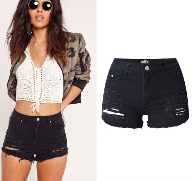 202d60916f High Waist Hole Black Shorts Women Top Quality Vintage Euramerican Robek Ripped  Denim Shorts Sexy Tassel