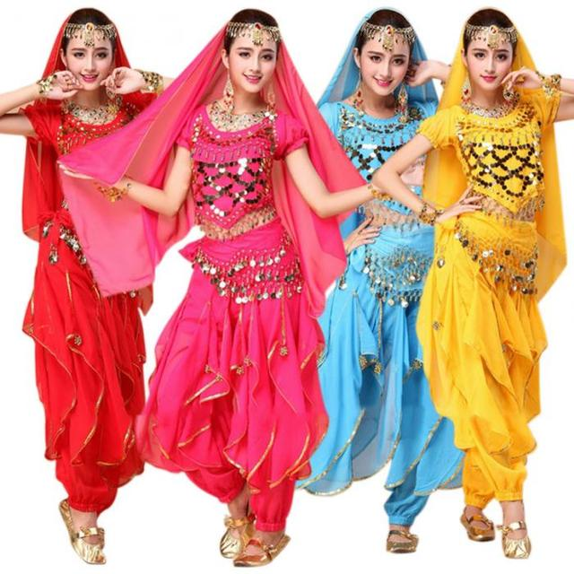 f67472ac67a 4pcs Sets Sexy India Egypt Belly Dance Costumes Bollywood Costumes Indian  Adult Bellydance Dress Womens Belly Dancing Costume